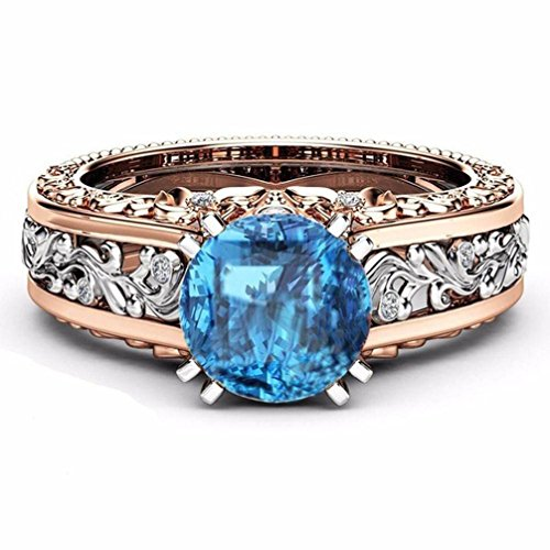 Separation Zircon Ring New Exquisite Women's Silver Oval Diamond Rings (P) from PLOT