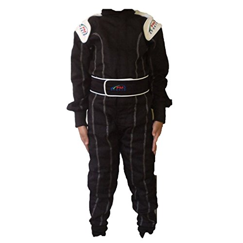 Kids/Children New Karting/Race Overall/Suits Polycoton Indoor & Outdoor (Black, 150) from PM Sports