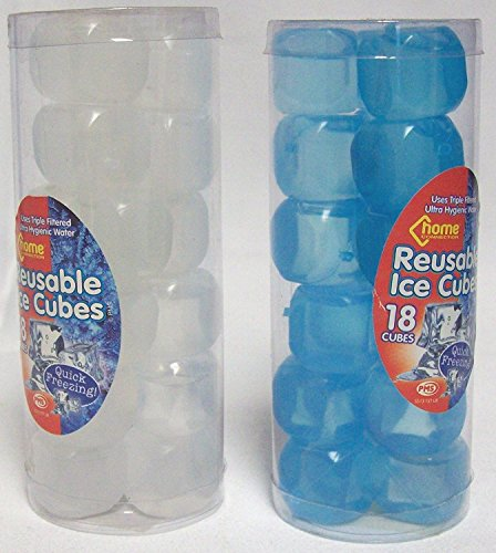 2 x Packs Of Reusable Fast Freeze Ice Cubes 36 Cubes In Total Blue & White from PMS