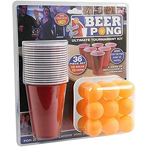 PMS 619028 36PC Beer Pong Set in Double Blister Card, Red from PMS