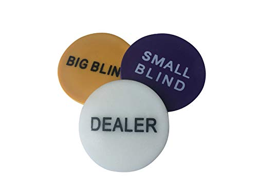POKER CHIP SHOP 3 PACK - DEALER BUTTON + SMALL AND BIG BLINDS 48mm from POKER CHIP SHOP