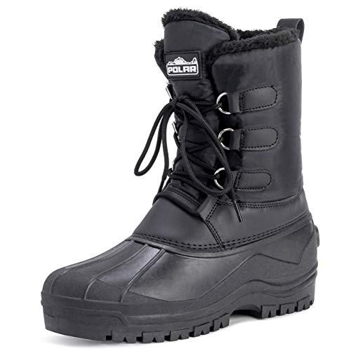 POLAR Mens Muck Lace Up Short Nylon Winter Snow Rain Lace Up Waterproof Duck Boots - 11 - BLK45 YC0141 from POLAR