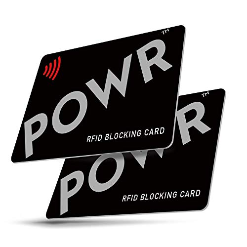 RFID/NFC Signal Blocking Cards (2 Pack) by POWR | Contactless Card Protection for Your Wallet or Purse from POWR