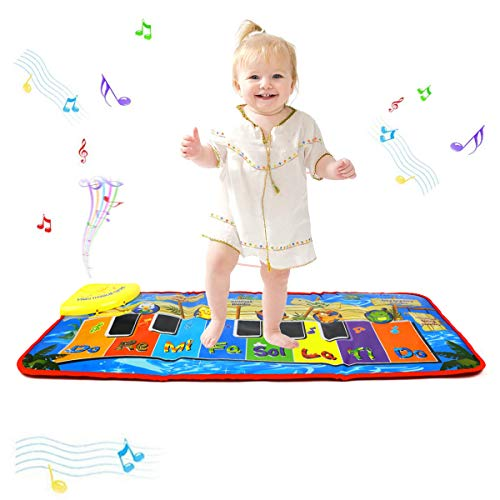 PROACC Upgrade Piano Playmat, Kids Piano Keyboard Music Playmat Toy, Large Size (31 * 13.8 Inches) Funny Dancing Mat for Babies Toddler Boys and Girls Gift (blue) from PROACC