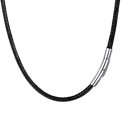 "PROSTEEL Necklace Man Black PU Leather Braided with Clasp Metallic Jewelry Trend Birthday Gift Christmas Party 3mm Wide (55cm / 22"") from PROSTEEL"