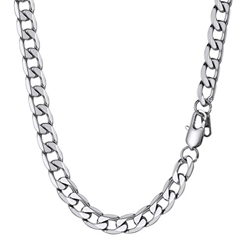 PROSTEEL ROSTEEL Hip Hop Jewelry for Men Necklace 316L Stainless Steel Curb Cuban Chain Silver Color from PROSTEEL