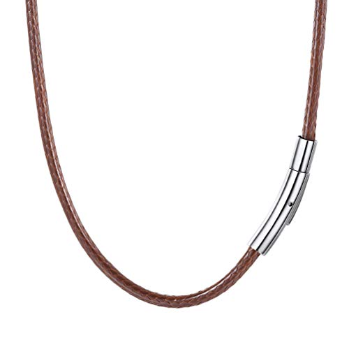 PROSTEEL Long Necklace Rope for Men 3mm 30 inch Wax Rope Leather Cord Necklace Brown from PROSTEEL