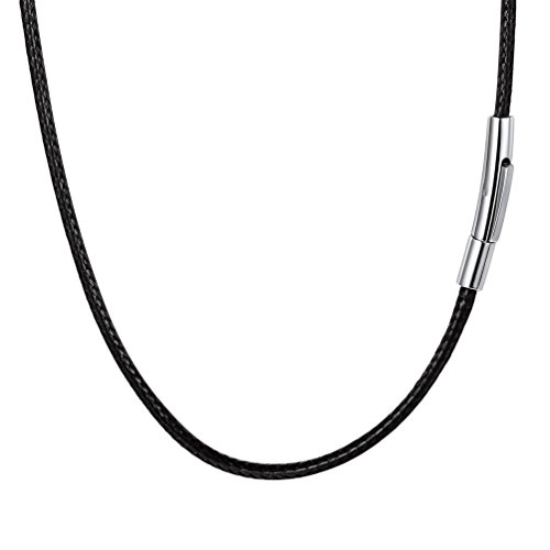 PROSTEEL Men Choker Leather Necklace 18 Inch Stainless Steel Cord String Rope Chain Jewelry Black from PROSTEEL