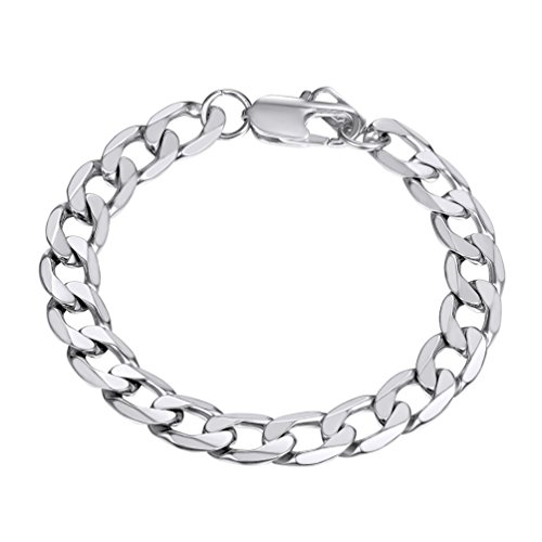 PROSTEEL Stainless Steel Bracelet for Women 21CM Men Hand Curb Chain Silver Color Armband Jewelry from PROSTEEL
