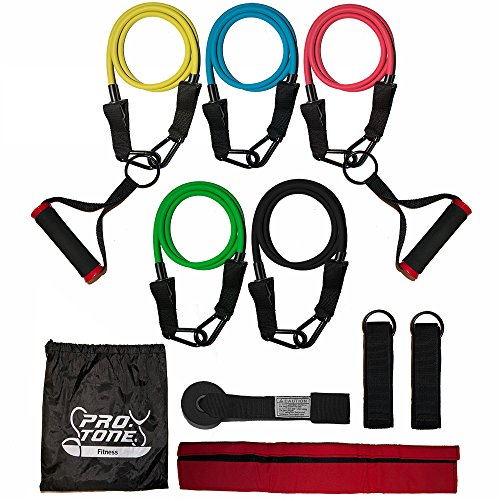 Protone resistance bands set - 5 tube set with handles, door anchor, ankle straps and carry bag for home fitness / travel fitness / strength from PROTONE