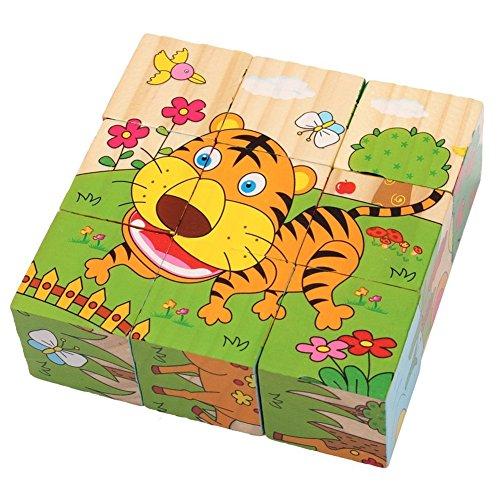 PROW® 6 in 1 Wooden Cube Puzzles Jigsaw 9 Pcs Hedgehog Elephant Tiger Deer Monkey Zebra Learning Animal Safe and Non-toxic Toy Building Blocks for Kids from PROW