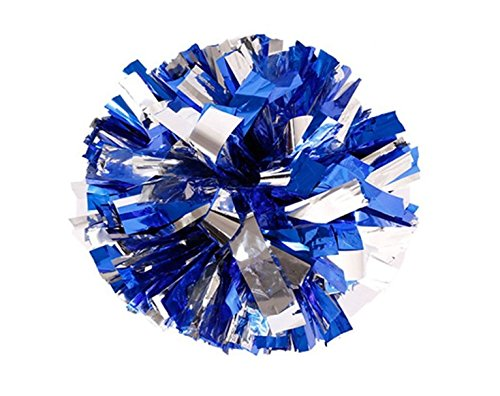 Pack of 2 Cheerleading Metallic Foil & Plastic Ring Pom Poms Cheerleading Poms(80G) (blue and silver) from PUZINE