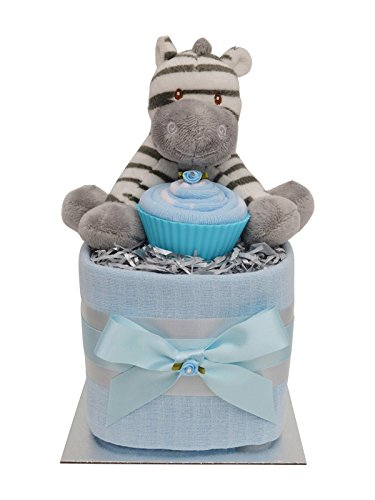 Lovely Blue Zebra Themed Square Mini New Baby Boys Nappy Cake Baby Shower Gift from Packaged to Perfection