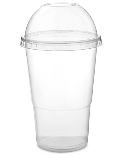 50 x 12oz Clear PET Smoothie Cups and 50 Smoothie Lids from Packpack
