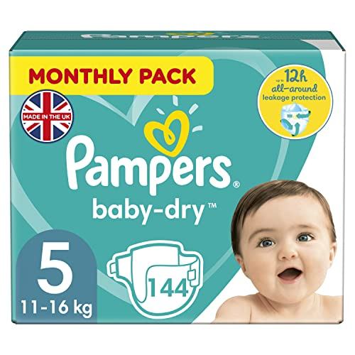 Pampers Baby-Dry 144 Nappies with 3 Absorbing Channels, 11 - 23 kg, Size 5 from Pampers