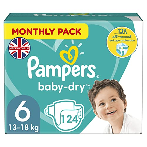 Pampers Baby-Dry 124 Nappies with 3 Absorbing Channels, 15+ kg, Size 6 from Pampers