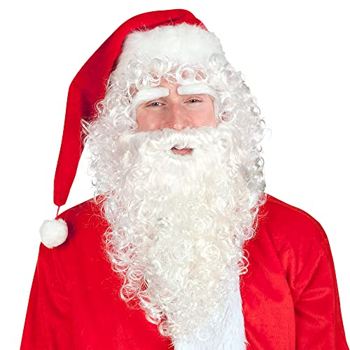 Boland 13417 Santa Deluxe Wig Set Consisting of Wig, Eyebrows and Beard, Curly Hair, Christmas, Carnival, Theme Party, Party Decoration from Boland