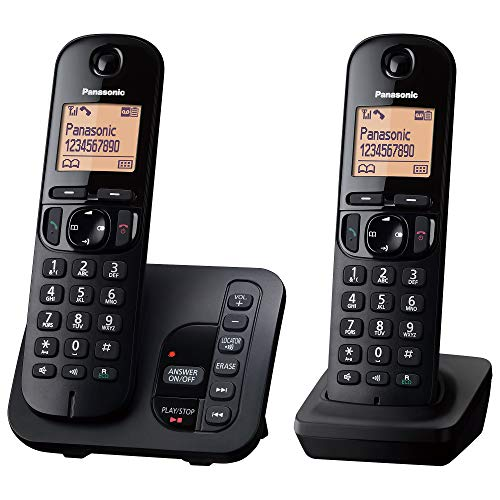Panasonic KX-TGC222EB Digital Cordless Phone with LCD Display - Black (Pack of 2) from Panasonic