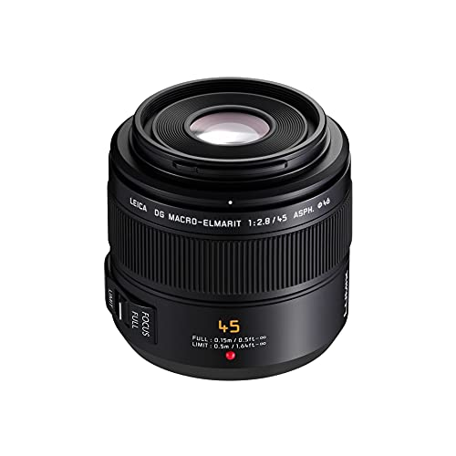 Panasonic LUMIX H-ES045E LEICA DG Macro-Elmarit 45 mm Macro Micro Four Thirds Lens - Black from Panasonic