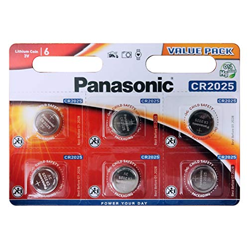 Panasonic Pack Of 6 Lithium CR2025 3V batteries Coin Cell Multi-Purpose New from Panasonic