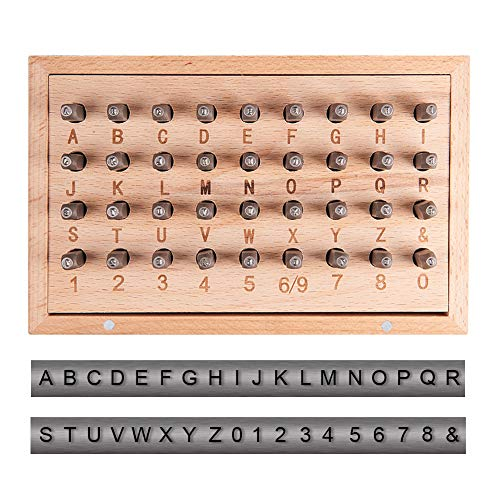 PandaHall Elite 36pcs/set 1.5mm Iron Letter Stamps, Including Letter A-Z, Number 0-8 and Ampersand, Letter Number Stamp Punch Tools for Stamping Metal/Jewelry/Leather/Wood from PandaHall