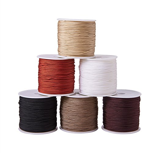 PandaHall Elite 6 Rolls Braided Nylon Cord, Imitation Silk String Thread, Mixed Color, 0.8mm,100 Yard/roll from PandaHall