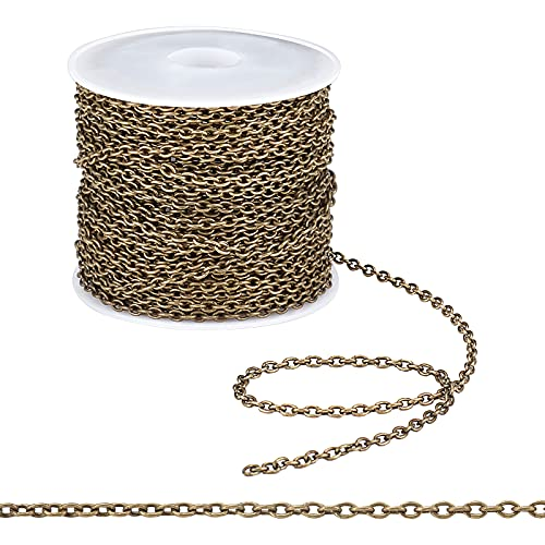 PandaHall 10m Iron Cross Chains Cable Chains for DIY Craft Bracelet Necklace Making, Antique Bronze Color, Come On Reel, Size: Chain: about 3mm long, 2mm wide, 0.5mm thick from PandaHall