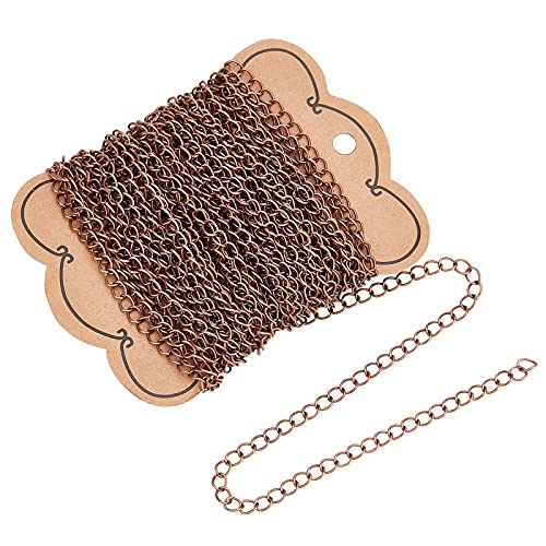 PandaHall 10m Iron Twist Chains for DIY Craft Bracelet Necklace Making, Red Copper from PandaHall