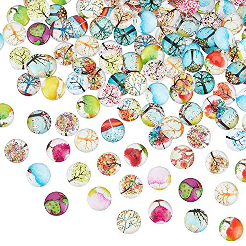 PandaHall 200 pcs Tree of Life Printed Half Round/Dome Glass Cabochons, Mixed Color, 12x4mm from PandaHall