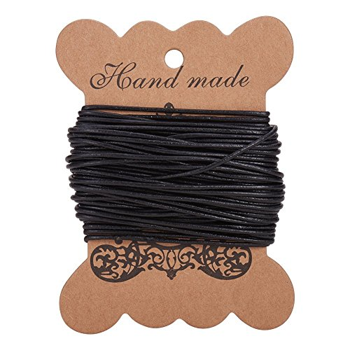 PandaHall Elite 1 Roll 1.5 mm Cowhide Round Leather Cords For Bracelet Neckacle Beading Jewelry Making 10 meter / 11 Yard Black from PandaHall