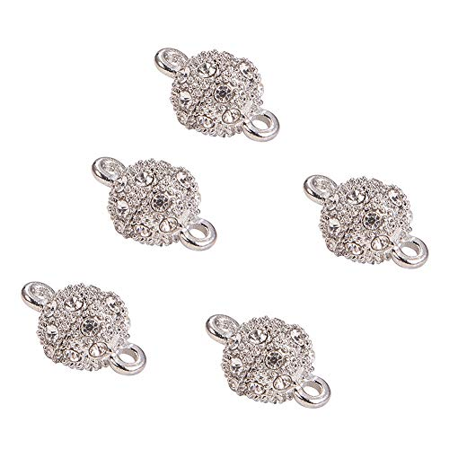 PandaHall Elite 10 Sets Round Alloy Rhinestone Brass Magnetic Clasps For DIY Craft Making, Platinum Color, 17x10mm, Hole: 2mm from PandaHall