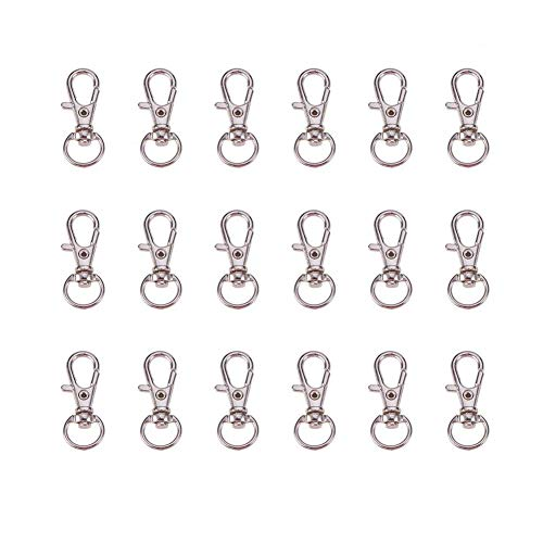 PandaHall 100pcs Iron Swivel Lobster Claw Clasps Snap Hook, Jewellery Making Supplies, Platinum Color, about 32.5x11mmx6mm from PandaHall