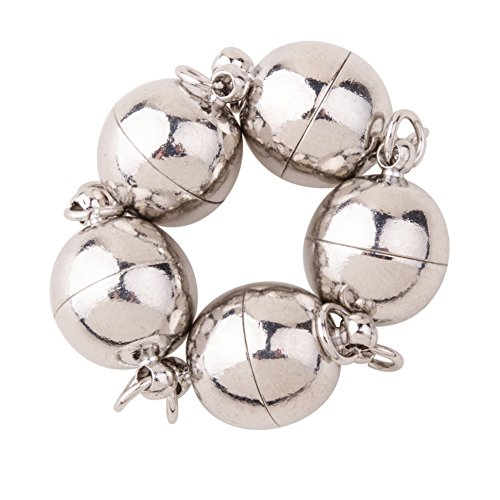 PandaHall 5 Sets Round Platinum Color Plated Strong Brass Magnetic Clasps Jewelry Findings for Bracelet Necklace Making, 12 * 19mm from PandaHall