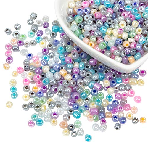 PandaHall about 6500pcs 6/0 Ceylon Pearl Luster Plated Round Glass Seed Beads 3mm Seed Beads for Jewelry Making from PandaHall