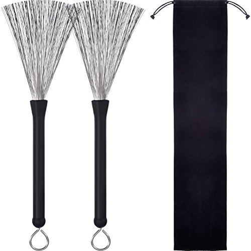 1 Pair Drum Brushes Retractable Wire Brushes Drums Drum Sticks Brush with Comfortable Rubber Handles from Pangda