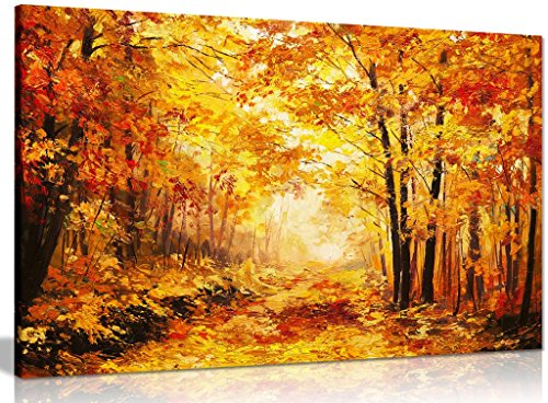 Abstract Vivid Oil Painting Colourful Orange Yellow Autumn Forest Leaves Canvas Wall Art Picture Print (18x12in) from Panther Print
