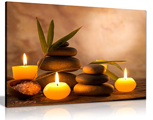 Aromatic Candles & Zen Stones Canvas Wall Art Picture Print (24x16in) from Panther Print