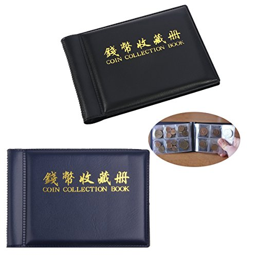 2 Pack Coin Collection Album 60 Coin Holders Can Hold 50P and 2 Pound Coins Black and Blue from Paor