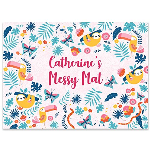 Paper Themes Personalised Play Mat Kids Mess and Paint sheet for Playdough Painting and Arts and Crafts Splash Mat- Sloth and Toucan Large from Paper Themes