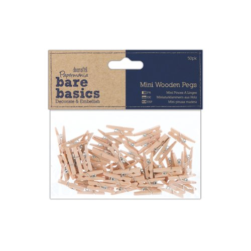Papermania Mini Wooden Peg, Pack of 50, Brown from Papermania