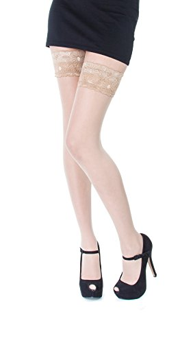 NEW Lace Top 20 Denier Sheer Hold Ups Stockings 17 Various Colours- Sizes S-XL (Large, Light Beige) from Paradise4women