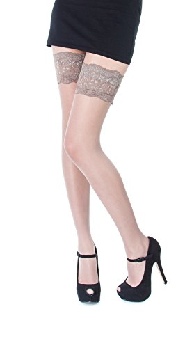 NEW Lace Top 20 Denier Sheer Hold Ups Stockings 17 Various Colours- Sizes S-XL (Large, Sawanna) from Paradise4women