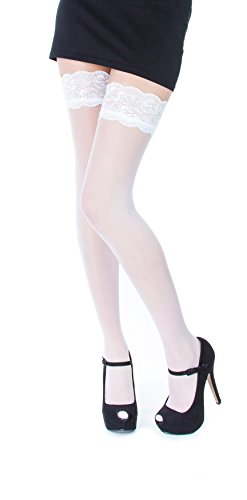 NEW Lace Top 20 Denier Sheer Hold Ups Stockings 17 Various Colours- Sizes S-XL (Large, White) from Paradise4women