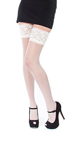 NEW Lace Top 20 Denier Sheer Hold Ups Stockings 17 Various Colours- Sizes S-XL (Medium, Ecru) from Paradise4women