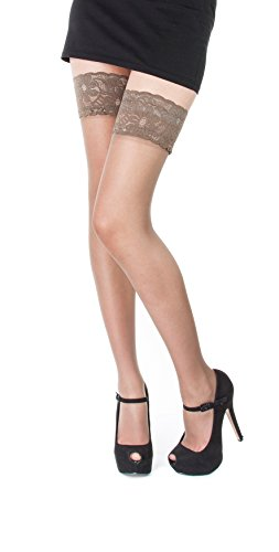 NEW Lace Top 20 Denier Sheer Hold Ups Stockings 17 Various Colours- Sizes S-XL (XLarge, Lyon) from Paradise4women