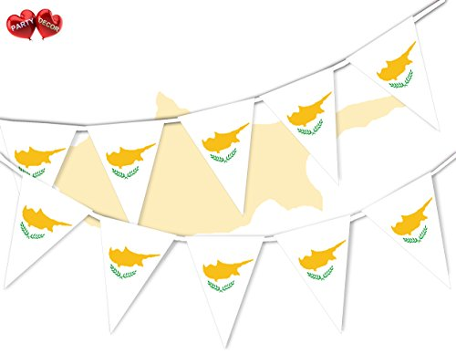 Cyprus Full Flag Patriotic Themed Bunting Banner 15 Triangle flags for guaranteed simply stylish party National Royal decoration by PARTY DECOR from Party Decor