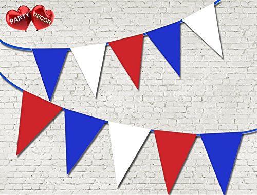 Red Blue & White UK Colours Bunting Banner 15 Flags For Guaranteed Stylish party decoration by PARTY DECOR from Party Decor