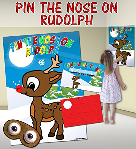 Pin the Nose on Rudolph (Pin the tail on the donkey style game) from Party People