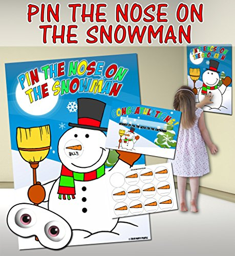 Pin the Nose on the Snowman (Pin the tail on the donkey style game) from Party People