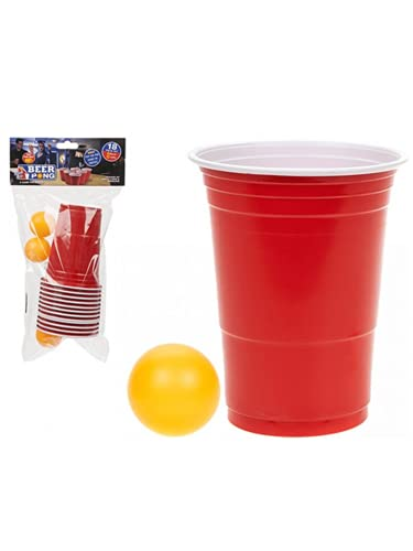 Adult Drinking Game 18 Piece Beer Pong Set 12 Red Cups and 6 Balls from Partyrama